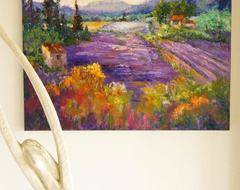 Landscape Painting, Impressionist Provence Landscape, Wonderful Lavender - Original oil knife painting, Impasto lavender fields 16X20""
