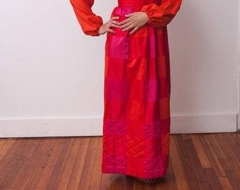 Vintage Orange Maxi Dress - Vtg Red Pink and Orange Dress - Quilted Dress - Size Medium - Five Past Five - Gift For Her - Vtg Maxi Dresses