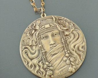Art Nouveau Necklace - French Necklace - Vintage Necklace - Brass Necklace - Mucha Necklace - Goddess Necklace - handmade jewelry