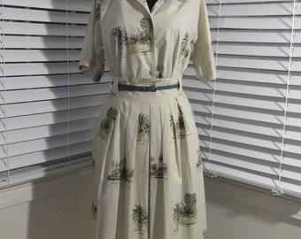 Island Khaki Blouse and Full Skirt, Small, 4