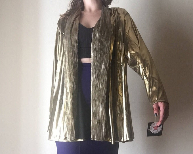 Gold Lamet Cover All | 90s vintage 80s NOTATIONS polyester metallic shiny long sleeve dance disco DEADSTOCK unisex womens shirt shawl OSFM