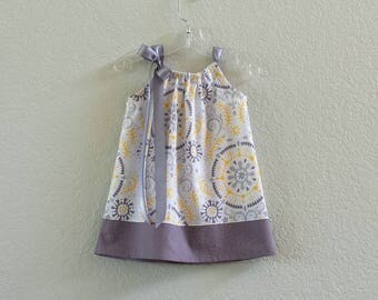 Girls Grey and Yellow Pillowcase Dress - Mustard Yellow and Shades of Gray - Girls Grey Sun Dress - Size 12m, 18m, 2T, 3T, 4, 5, 6, 8, or 10