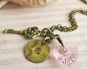 Personalized flower girl necklace, pink initial necklace, rustic wedding jewelry, little girl gift, pink heart jewelry