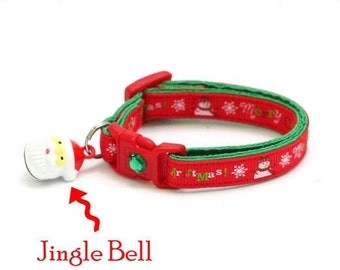 Christmas Cat Collar - Merry Christmas Snowmen on Red - Kitten or Large Size