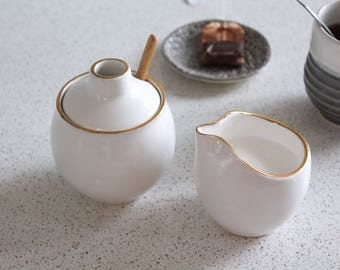 Ceramic Creamer With GOLD - Pottery Maple Syrup Pourer