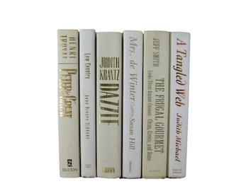 Bridal Shower Books, Bedroom Decor, Beige Ivory Decorative Books , Wedding Decor , White  Vintage Books ,  Home Decor , Old Books