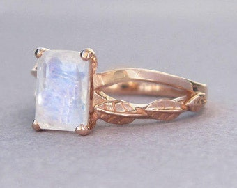Rose Gold Moonstone Engagement Ring, Emerald Cut Moonstone Leaves Engagement Ring, Moonstone Leaf Ring, Alternative Engagement Ring
