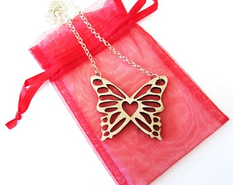 Wood butterfly necklace ~ Laser cut from birch wood, butterfly gift,