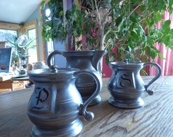 Antique Pewter Salt and Pepper Shakers and Creamer . Perfect Shape!