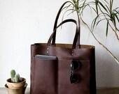Large Dark Brown Leather Tote, Genuine Leather Bag,  Black Leather Bag, Front Pocket Bag, Handmade Cowhide Bag, Travel Bag, Oversized Bag