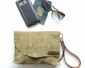 Army green suede wristlet