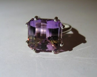 Large Top Grade Bi-Color Ametrine In Sterling Silver Ring 7.45ct. Size 6.5
