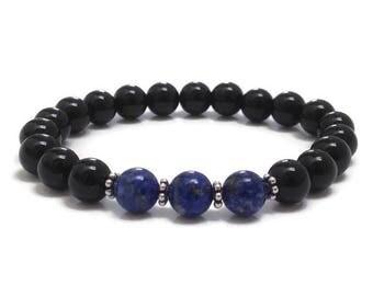 Lapis Lazuli Bracelet, Onyx Beaded Bracelet, Chakra Bracelet, Mala Beads Anniversary Birthday, Get Well Recovery Retirement Gift for Women