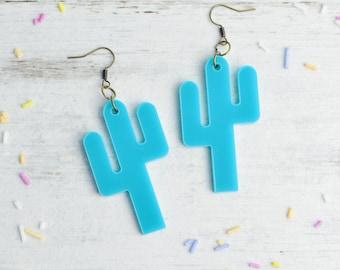 Teal Turquoise Cactus Earrings | Nickel Free Earrings | Cactus Dangle Earrings | Statement Jewellery | Cactus Gift