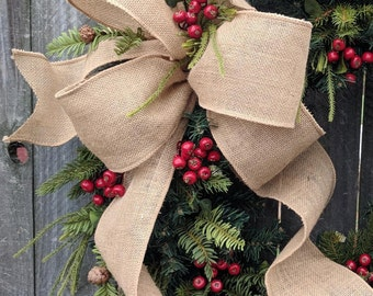 "Burlap Bow, Wired Burlap Ribbon, 4"" Wide Burlap Ribbon, Bow for Wreath, Christmas Bow, Spring Wreath Bow, Summer Bow, Fall Bow, Messy Bow"