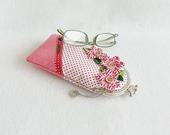 Beautiful Belt Red Glasses Case, Eyeglass Case, Spectacle Case, Metal Frame Purse
