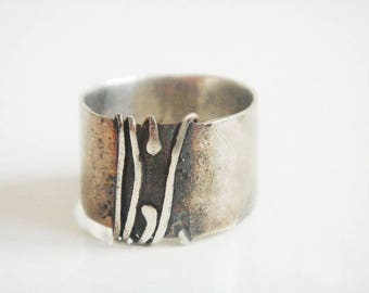 Wide band ring, Silver band ring, Contemporary silver ring, Statement silver ring, Wide silver ring, Wide silver band, Gift for her, Silver