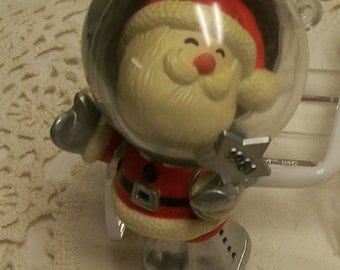 Vintage HALLMARK Ornament Circa 1981 Space Santa Santa Claus Ornament Space Helmet & Silver Suit