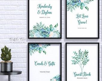 Wedding/Reception Signs (4 Piece Print Collection) - Teal Garden