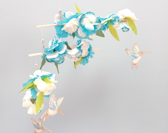 Flowers & Hummingbirds Mobile,D73,Teal/White,Baby Mobile,Hummingbird,Bird,Mobile,Kinetic,Flower Mobile,Bird Mobile,Nursery Mobile,Gardener