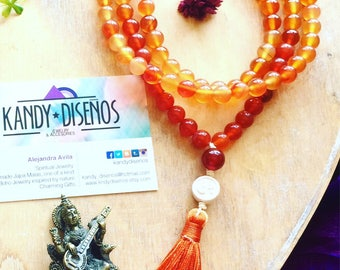 108 Bead Mala Necklace. Chakra Inspired, Carnelian Mala Necklace. Handmade Japa Mala. Buddhist Mala Prayer Beads. Yoga Jewelry Meditation