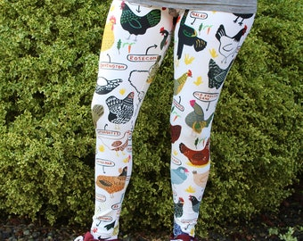 Chicken Breeds Adult Size Leggings - Homestead, Farming, gardening, Mothers Day, Quirky