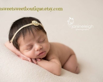 Simple Newborn Headband Dainty Headband Gold Crystal Tie Back Baby Girl Headband Gold Headbands Gold Rhinestone Headband Newborn Photo Prop