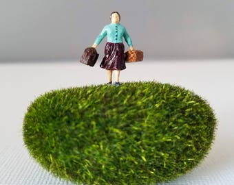 Miniature World Terrarium People Tiny Woman in Dress HO Scale Hand painted One of a Kind Railroad