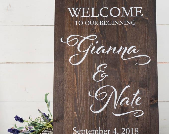 Welcome Wedding Sign // Wedding Welcome Sign // Rustic Wood Wedding Sign // Personalized Wedding Decorations // Custom Wedding Sign
