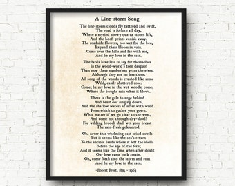 Robert Frost Print - A Line Storm Song - Be My Love in the Rain - Poetry Art Print - Romantic Love Poem - Poetry Print - Large Wall Art