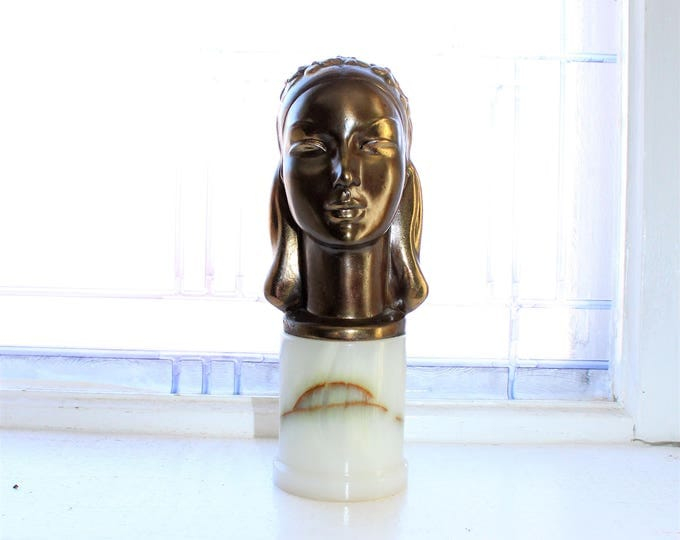 Art Deco Female Bust Brass On Marble Vintage 1930s