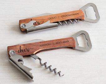 Custom Engraved Wine Corkscrew & Bottle Opener: Personalized Bridesmaid Wine Gift, Personalized Groomsmen Bottle Opener, Custom Wine Opener