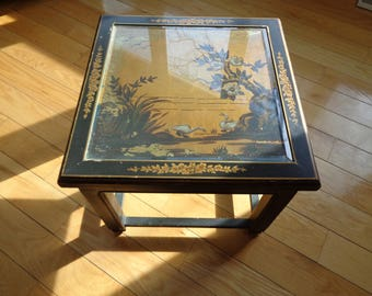 Asian Antique Looking Accent Table, Chinoiserie Style Hand Painted Scene of Laughing Ducks on a gold leaf background with wonderful patina