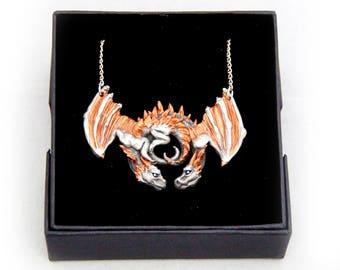 Copper Accent Dragon Embrace Pewter Pendant