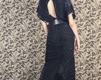Silk vintage dress ,1980s doing 20s, deco dress, bohemian dress, silk beaded dress, 1930s dress, evening dress, bohemian party dress, medium