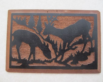 Wooden Postcard 1940-50's Carved From California Redwood Vintage Bas Relief