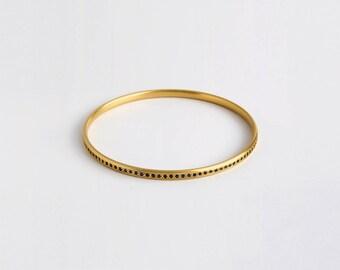 18k Gold Blue Sapphire Bangle Bracelet, September Birthstone Bracelet, Dainty Saphire Bracelet, Stacking Gemstone Bangle, Genuine Sapphire