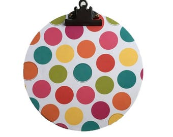 """10"""" Rainbow Clipboard / Decorative Clipboard / Round Clipboard / Handmade Clipboard / Hanging Clipboard / Teacher Gift / Gifts for Her"""