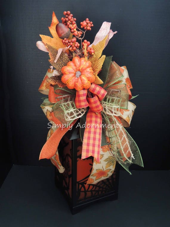 Whimsical Fall Bow for Wreath Fall leaves pumpkin Lantern swag Bow Thanksgiving Bow for Lantern Maple Leaves Pumpkin Bow Fall Gift wrap bow