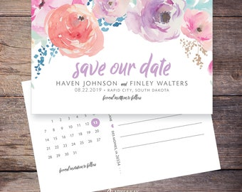 Printable Save the Date Postcard, Spring Summer Watercolor Flower, Save-the-Date Card, DIY, Digital File –Haven