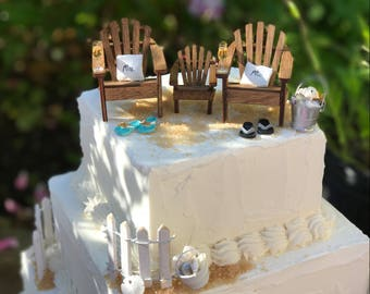 BLENDED FAMILY Beach Theme Wedding Cake Topper - Include  your child/children  - by Landscapes In Miniature