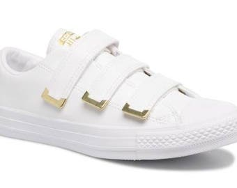 White Converse Low Top Velcro Strap Gold Buckle Chuck Taylor Slip on Canvas w/ Swarovski Crystal Rhinestone Jewels All Star Sneakers Shoes