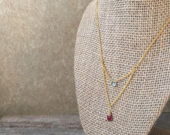 Aquamarine and Ruby|Brass Necklace|Layering Necklace|Delicate Necklace|Dainty Necklace|Simple