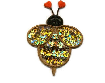 Bumblebee - Bumble Bee - Insect - Heart - Sequin Iron On Applique Patch