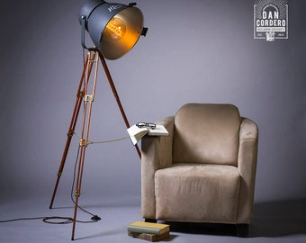 Vintage Theater & Tripod Light | Floor Lamp | Light Fixture | Spotlight | Antique | Edison Lamp | Edison Bulb | Stage Light | Kliegl Bros