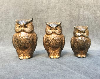 60's Owl Trio Ceramic Figurines Three Adorable Birds in Ascending Size - Made in Japan