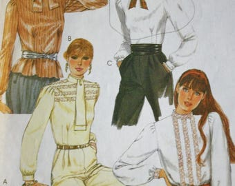 1980s Back-Buttoned Blouse, McCalls 7644 Vintage Sewing Pattern, Bust 32
