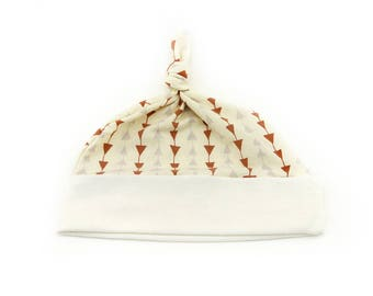 Baby Top Knot Hat (Rusty Triangles/Solid Cream) ||| baby shower gift, newborn hat, newborn take home outfit, baby jersey hat, knotted hat