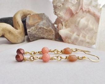 Handmade Chain Earrings, Dangle Earrings, Pink, Gold Beaded Earrings, Gemstone Earrings, Glass Earrings, Boho Jewelry, Southwestern Jewelry