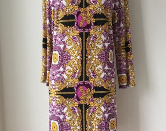 80's Shift Dress Jersey Knit Baroque Versace Design slip on Dress Resort Cruise Wear Party dress Stretchy Figure Flattering Plus size XL